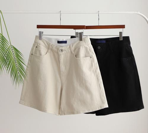 beige blanc-리코 히든밴딩 코튼 4부 팬츠]♡韓國女裝褲