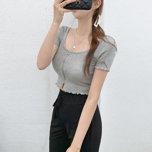 jnroh-데니즈 지퍼 프릴 골지 크롭 티셔츠 (아이보리,민트,그레이,블랙)♡韓國女裝上衣