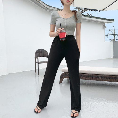 jnroh-썬셋 썸머 찰랑 쿨링 일자 밴딩 팬츠 (민트,블랙)♡韓國女裝褲