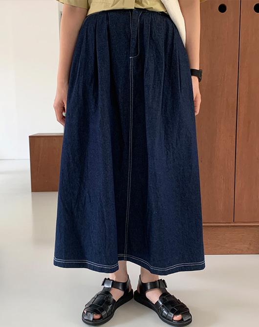 baon-[24시간 new 5% sale] 보티니 데님 핀턱 스커트 (2color)♡韓國女裝裙