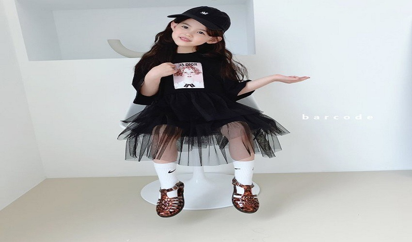 lovely2min-바코드 자도르망사원피스(S~JM) - lovely2min♡韓國童裝連身裙