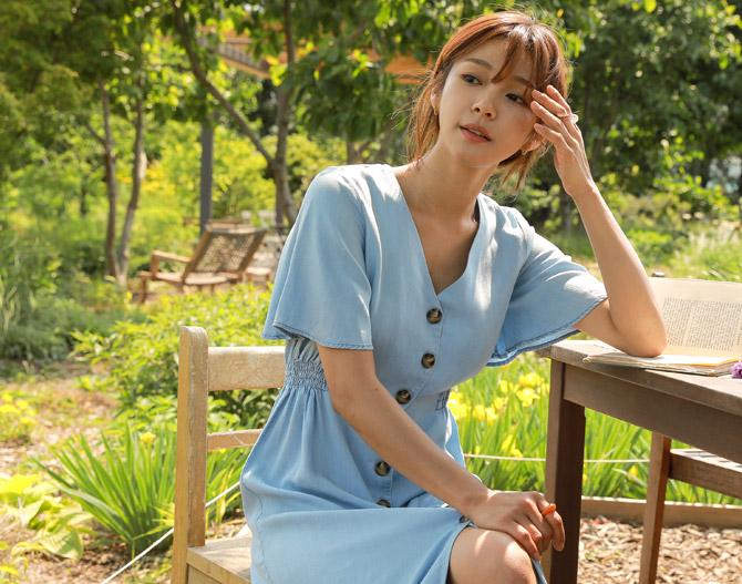 chichera-세련된 그녀들의 선택, 시크헤라[텐셀데님날개소매원피스]♡韓國女裝連身裙