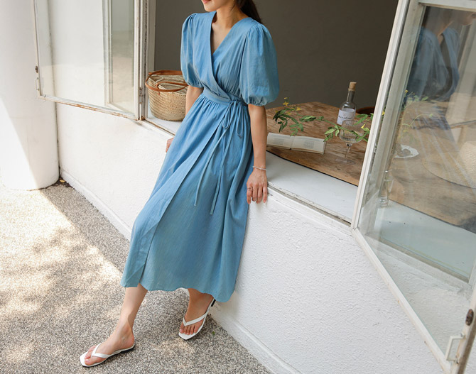 chichera-세련된 그녀들의 선택, 시크헤라[데님퍼프소매랩원피스]♡韓國女裝連身裙