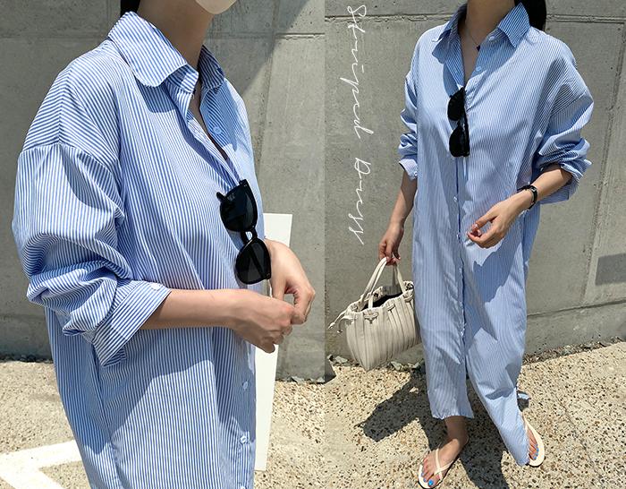 ssunny-[루즈핏 스트라이프 셔츠롱ops(big size)]♡韓國女裝連身裙
