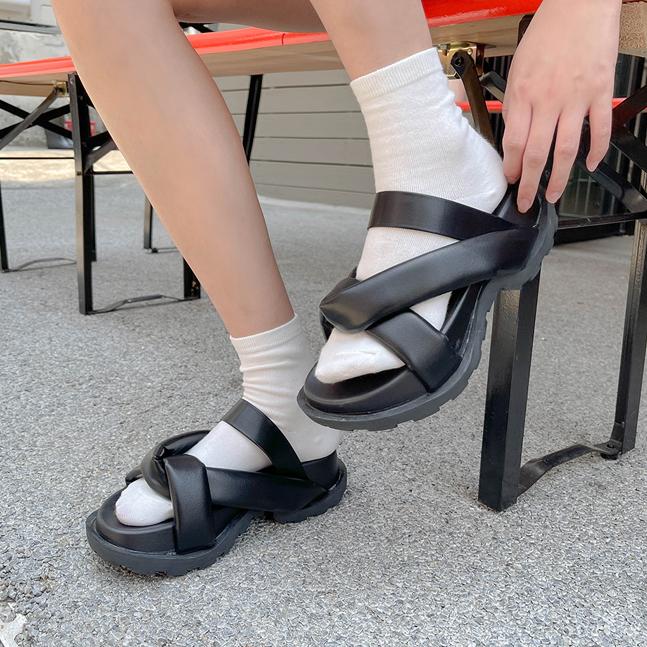sonyunara-벤즈 꼬임 스트랩 청키굽 슬리퍼♡韓國女裝鞋