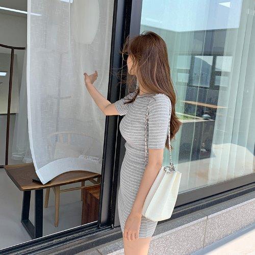 jnroh-트루 스트라이프 골지 3부소매 원피스 (그레이,블랙)♡韓國女裝連身裙