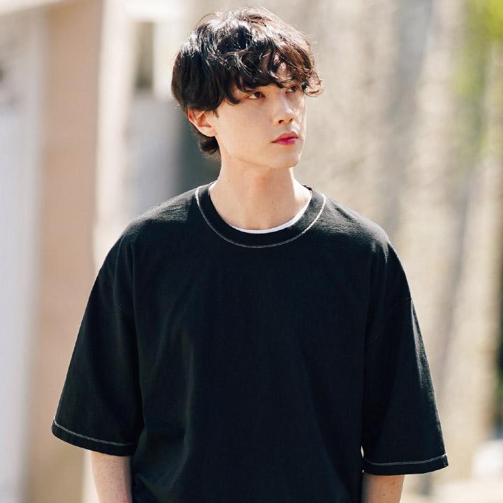 fairplay142-[[페플] 라인 스티치 피그먼트 반팔티 블랙 KYST1310]♡韓國男裝上衣