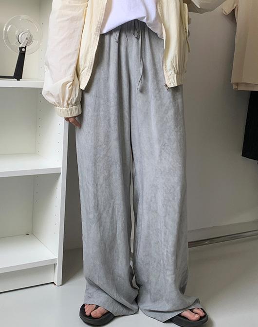 baon-[24시간 new 5% sale] 겔리 린넨 나염 밴딩 팬츠 (2color)♡韓國女裝褲