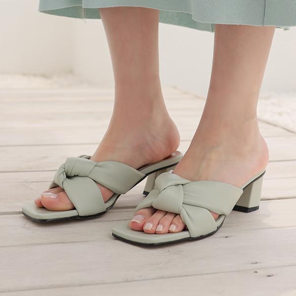 ode-[폭신 쿠션 트위스트 슬리퍼힐]♡韓國女裝鞋
