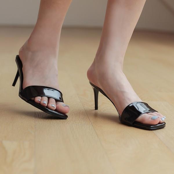 ode-[유광 심플 라인 슬리퍼힐]♡韓國女裝鞋