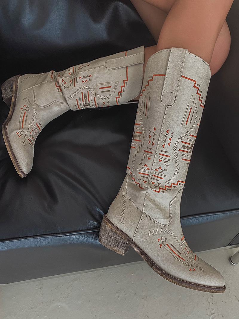 crazygirls-빈티지자수웨스턴부츠-sh♡韓國女裝鞋