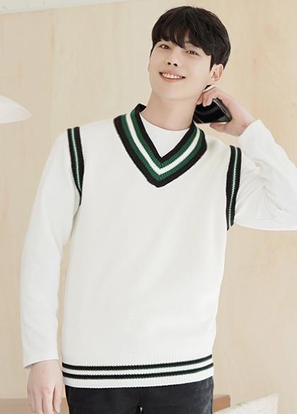 jogunshop-[프레쉬 브이넥 베스트Free(95~100)]♡韓國男裝外套