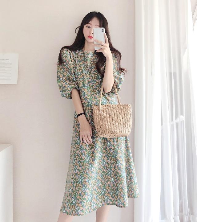 uniqueon-풀잎 벌룬 A라인 롱원피스 [H0461]♡韓國女裝連身裙