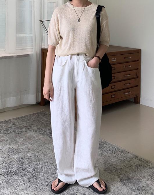 baon-[24시간 new 5% sale] 크림 부클 반팔 니트 (8color)♡韓國女裝上衣