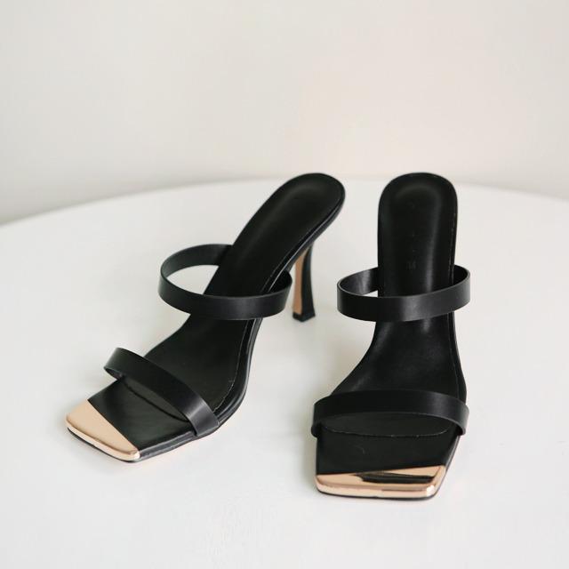 mybany-골드스퀘어뮬샌들힐♡韓國女裝鞋