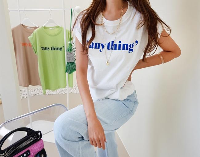 helloyoonsoo-애니띵오케이 롤업소매 티셔츠♡韓國女裝上衣