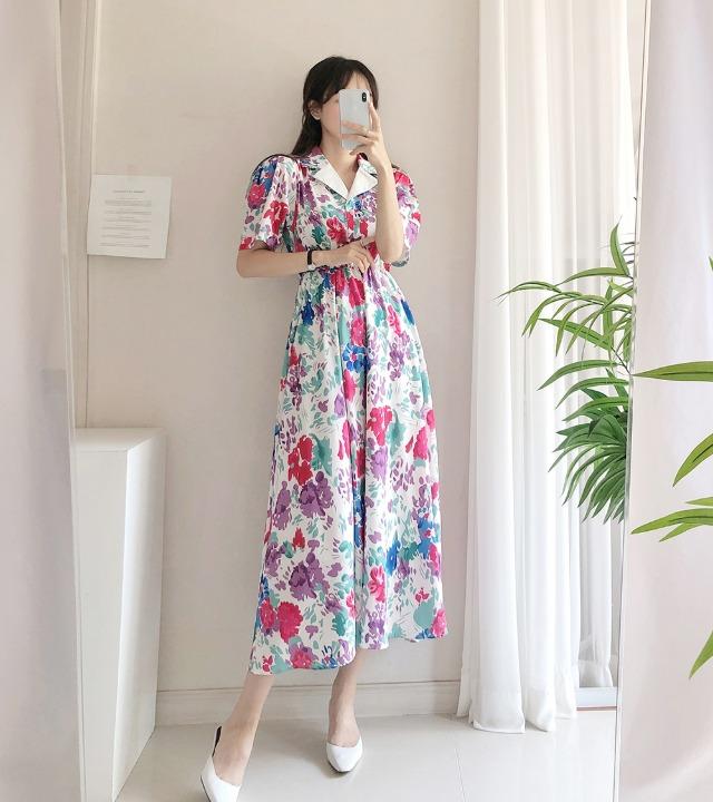 uniqueon-블라썸 여름 코튼 배색더블카라 플라워 반팔 A라인 플레어 롱원피스 [H0473]♡韓國女裝連身裙