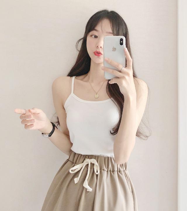 uniqueon-[여기저기레이어드하기좋은♥] 무지 베이직 스판 크롭 끈나시T [H0474]♡韓國女裝上衣