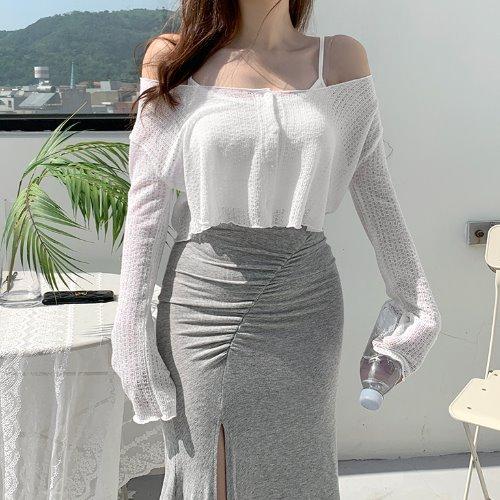 jnroh-(린넨20%) 류이 썸머 물결 그물 크롭 가디건 (아이보리,블랙)♡韓國女裝外套