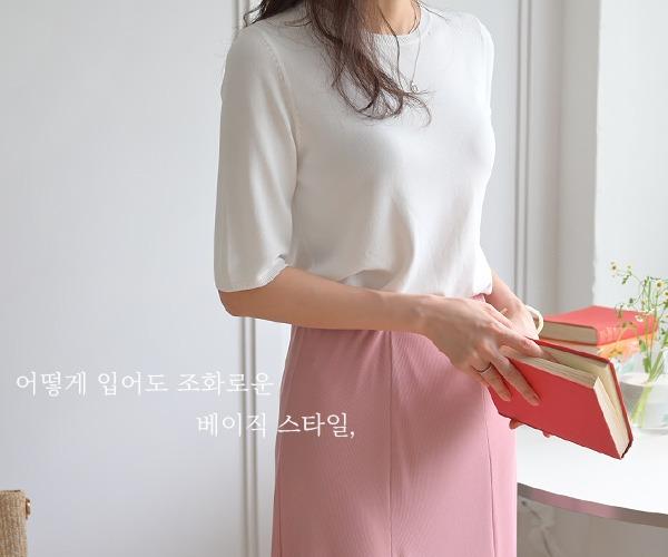 DailyN-샤앤 라운드 베이직 반팔 니트♡韓國女裝上衣