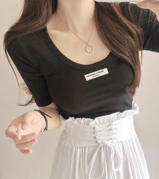uniqueon-와이드U넥 5부 슬림스판쫀쫀 반팔티셔츠 [H0467]♡韓國女裝上衣