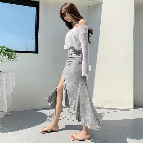 jnroh-(밴딩) 토즐 셔링 훌 트임 골지 언발 롱 스커트 (그레이,블랙)♡韓國女裝褲