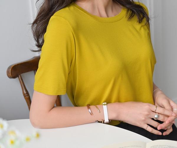 DailyN-슬로시 찰랑 레이온 반팔 티셔츠♡韓國女裝上衣