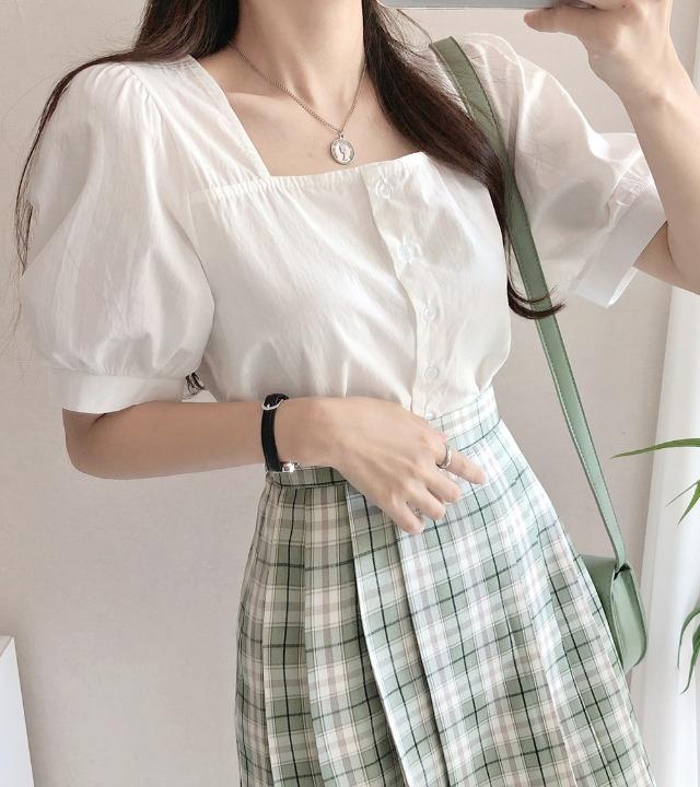 uniqueon-여름 얇은 코튼 스퀘어넥 벌룬반팔 블라우스 [H0471]♡韓國女裝上衣