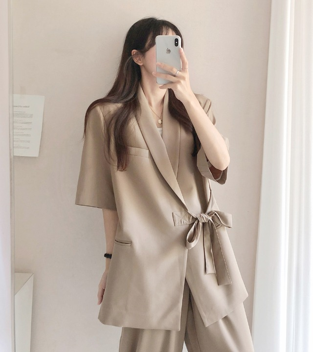 uniqueon-[남녀공용♥/M,L사이즈] 반팔 포트 오버핏 자켓 [H0475]♡韓國女裝外套