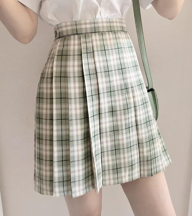 uniqueon-체크 플리츠 A라인 플레어 뒷밴딩 미니스커트 [H0472]♡韓國女裝裙