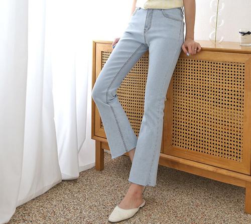 beige blanc-프레시 아이스연청 세미부츠컷 데님 팬츠]♡韓國女裝褲