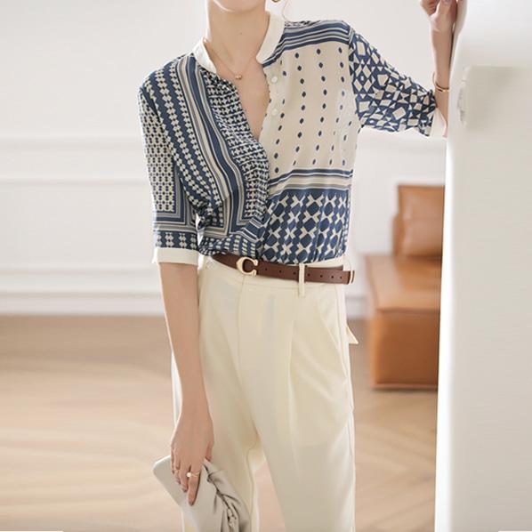 fashion-full-아벨르 패턴 헨리넥 블라우스(TIME SALE 20%)♡韓國女裝上衣