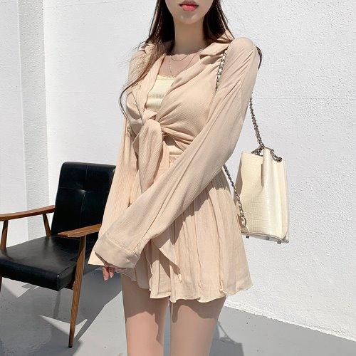 jnroh-듀리 요루 주름 묶음 썸머 여리핏 긴팔 셔츠 (아이보리,베이지,소라,블랙)♡韓國女裝上衣