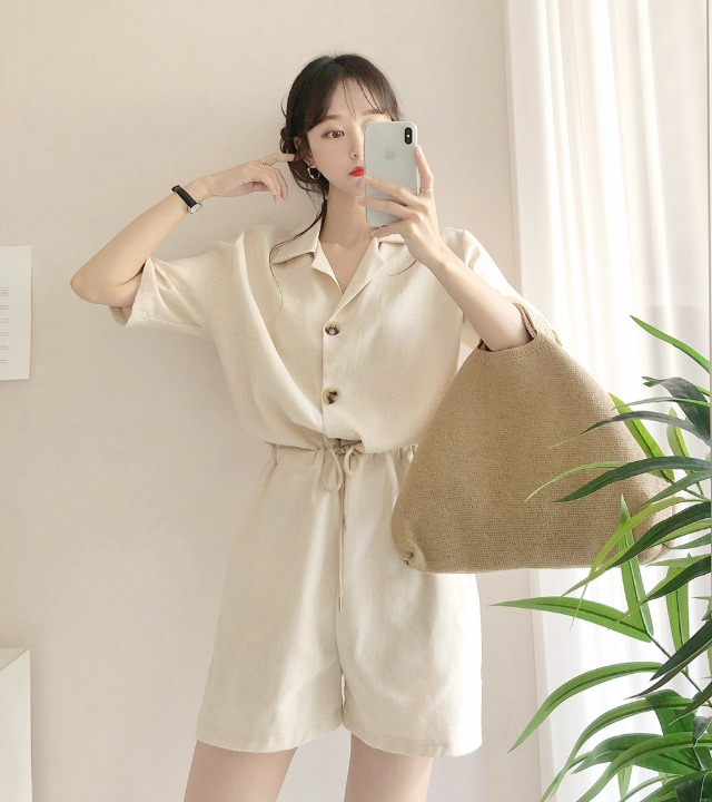 uniqueon-린넨 마 오픈카라 반팔 하프 점프수트 [H0425]♡韓國女裝褲