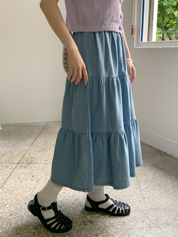loveandpop-소이 데님캉캉스커트♡韓國女裝裙