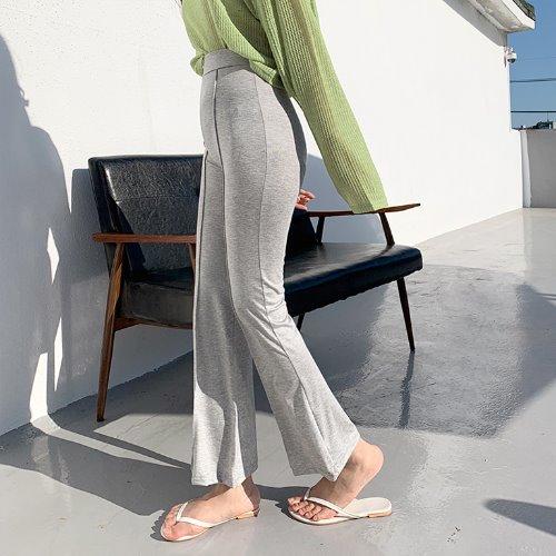 jnroh-(밴딩) 나츠 절개 부츠컷 꾸안꾸 레깅스 팬츠 (그레이,블랙)♡韓國女裝褲