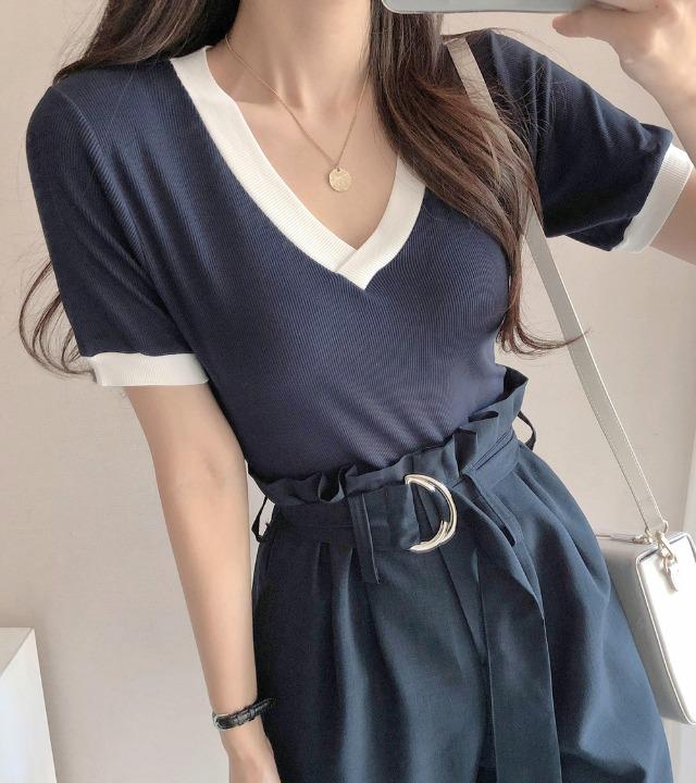 uniqueon-배색 브이넥 골지 반팔 니트T [H0478]♡韓國女裝上衣