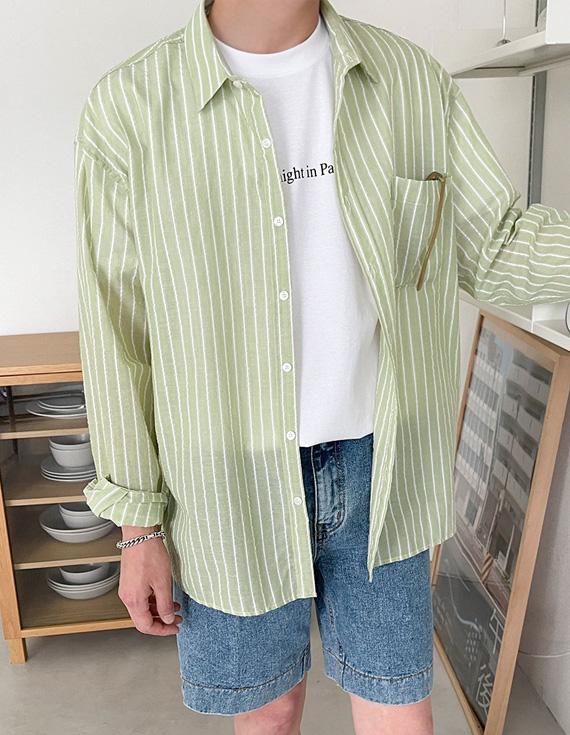 jogunshop-[반비오 린넨 스트라이프 셔츠Free(95~105)]♡韓國男裝上衣