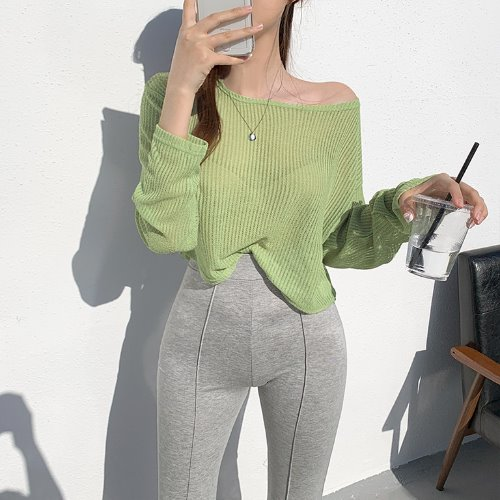 jnroh-(린넨10%) 시프 썸머 시스루 여리핏 크롭 티셔츠 (아이보리,연두,그레이,블랙)♡韓國女裝上衣
