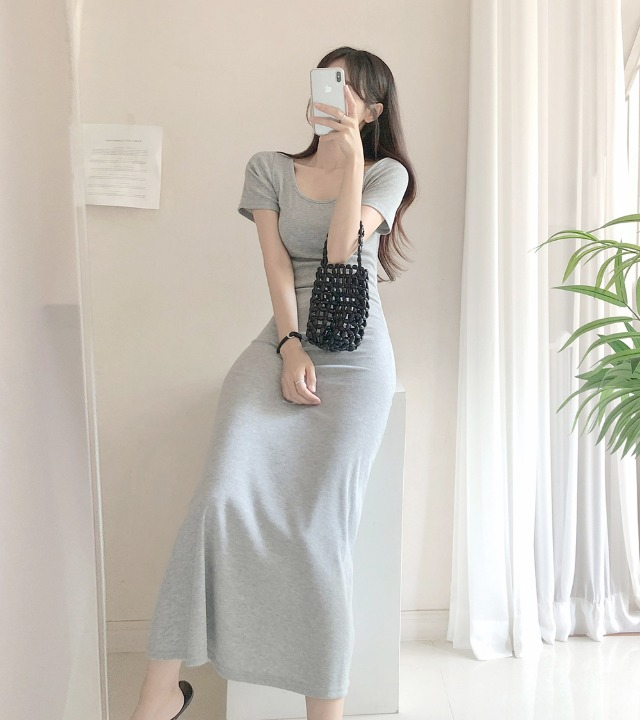 uniqueon-글램섹시슬림모찌스판골지쫀쫀 U넥 엑스끈 반팔 롱원피스 [H0482]♡韓國女裝連身裙