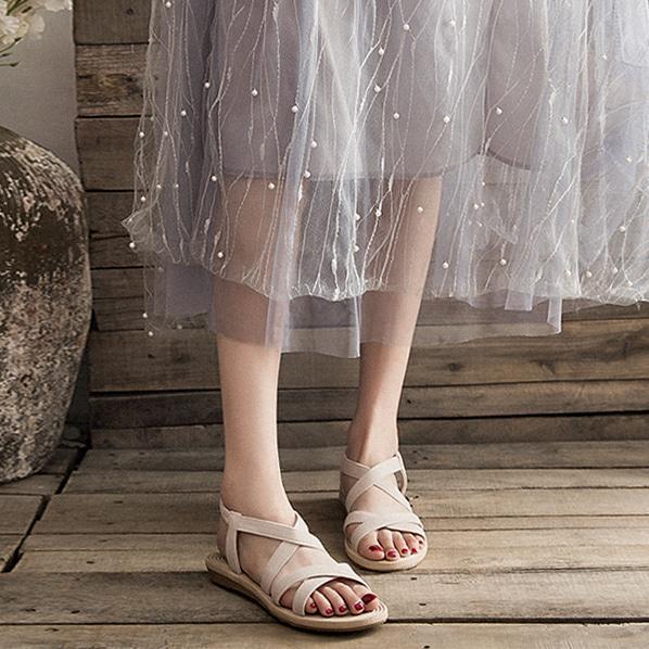 fashion-full-베이직 밴딩 스트랩 샌들♡韓國女裝鞋