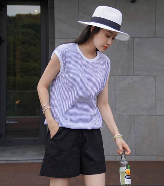 roompacker-룸페커 [프렌 S/T 배색 시보리 탑]♡韓國女裝上衣