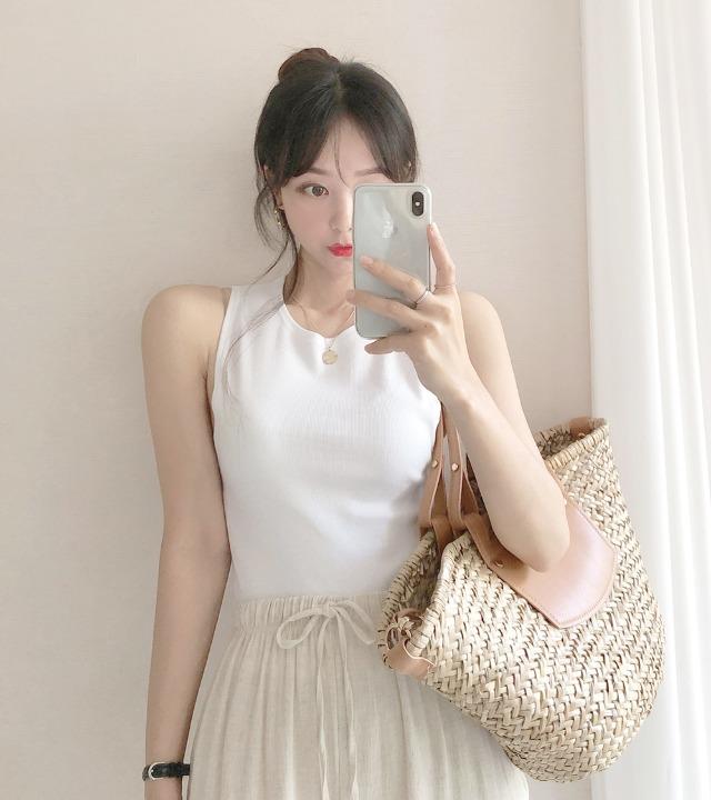 uniqueon-홀터무드 무지 베이직 골지 모찌스판쫀쫀 나시T [H0487]♡韓國女裝上衣