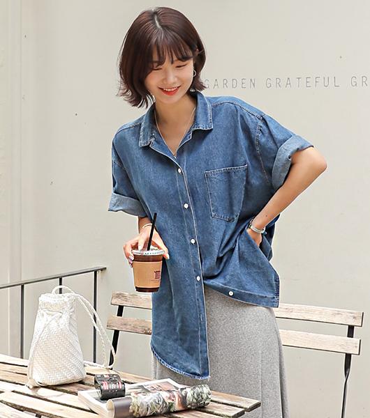 roompacker-룸페커 [매니 루즈핏 데님 반팔셔츠]♡韓國女裝上衣