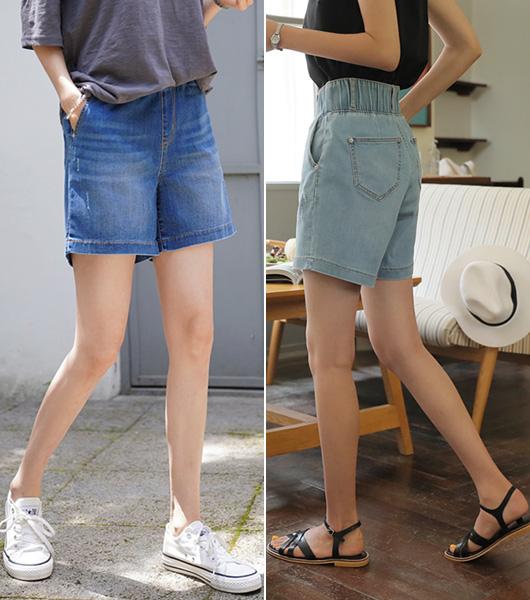 roompacker-룸페커 [하이 넓은밴딩 4부 데님팬츠]♡韓國女裝褲