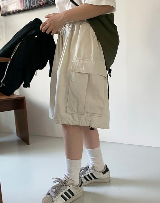 baon-[24시간 new 5% sale] [unisex] 먼츠 카고 하프 팬츠 (3color)♡韓國女裝褲