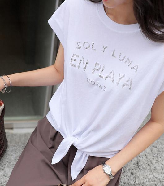 roompacker-룸페커 [몰리 슬릿 매듭 티셔츠]♡韓國女裝上衣