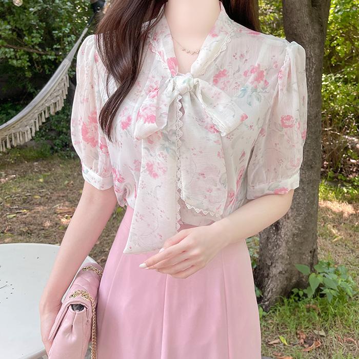myfiona-플라워에딘 레이스리본 블라우스 a1622 - 러블리 로맨틱 1위 쇼핑몰 피오나♡韓國女裝上衣