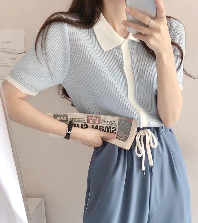 uniqueon-비기닝 배색라인 포인트 여름 얇은 골지 반팔 니트가디건T [H0485]♡韓國女裝外套