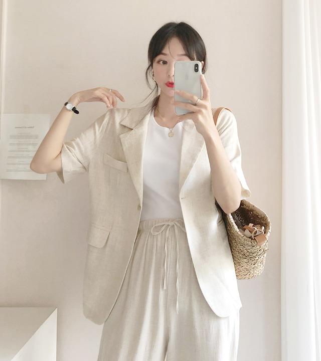 uniqueon-에어컨 여름 린넨 반팔 자켓 [H0488]♡韓國女裝外套
